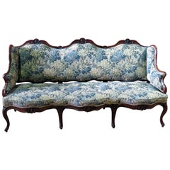 Antique Carved Walnut Triple Carved Back Louis XV Settee Sofa Couch C1920