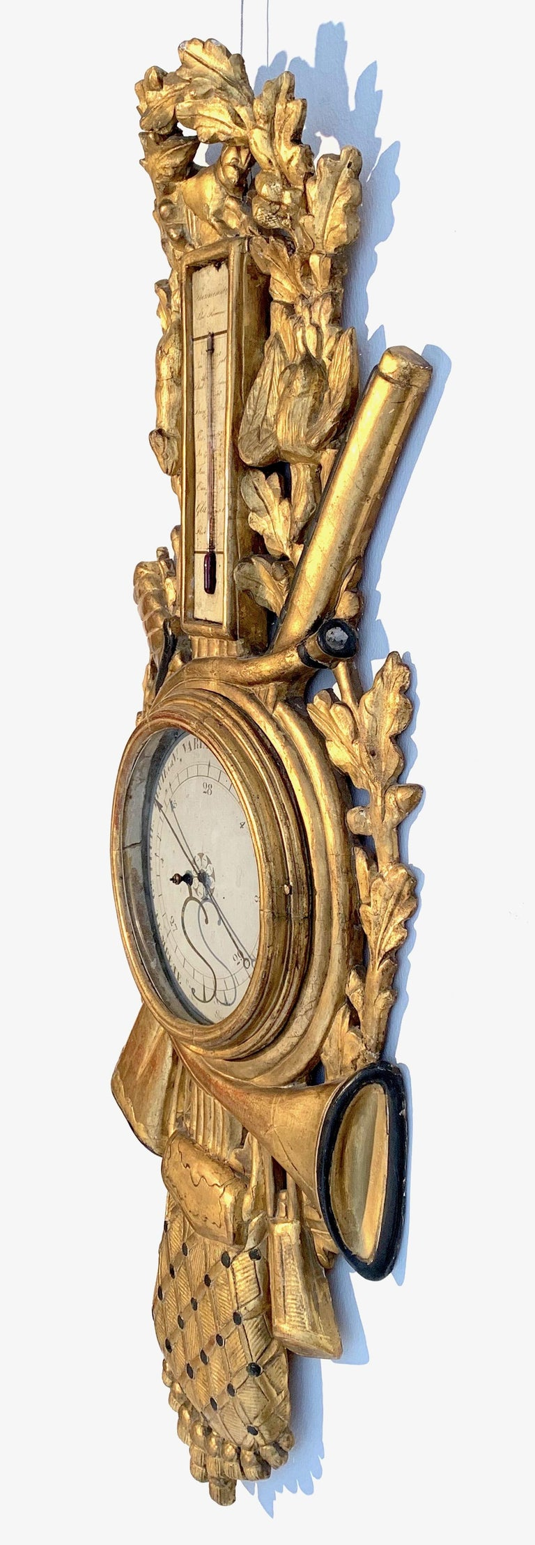 Antique Louis XVI 1775 Paris Beech Wood Barometer and Thermometer for a Hunter For Sale 6