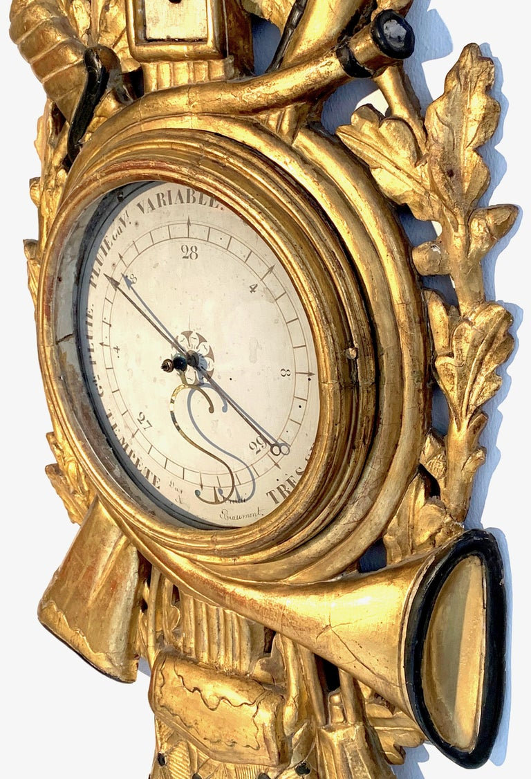 French Antique Louis XVI 1775 Paris Beech Wood Barometer and Thermometer for a Hunter For Sale