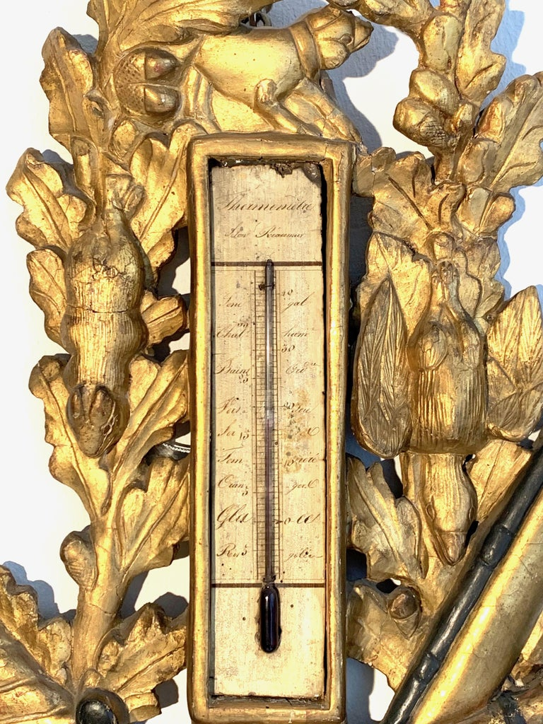 Carved Antique Louis XVI 1775 Paris Beech Wood Barometer and Thermometer for a Hunter For Sale