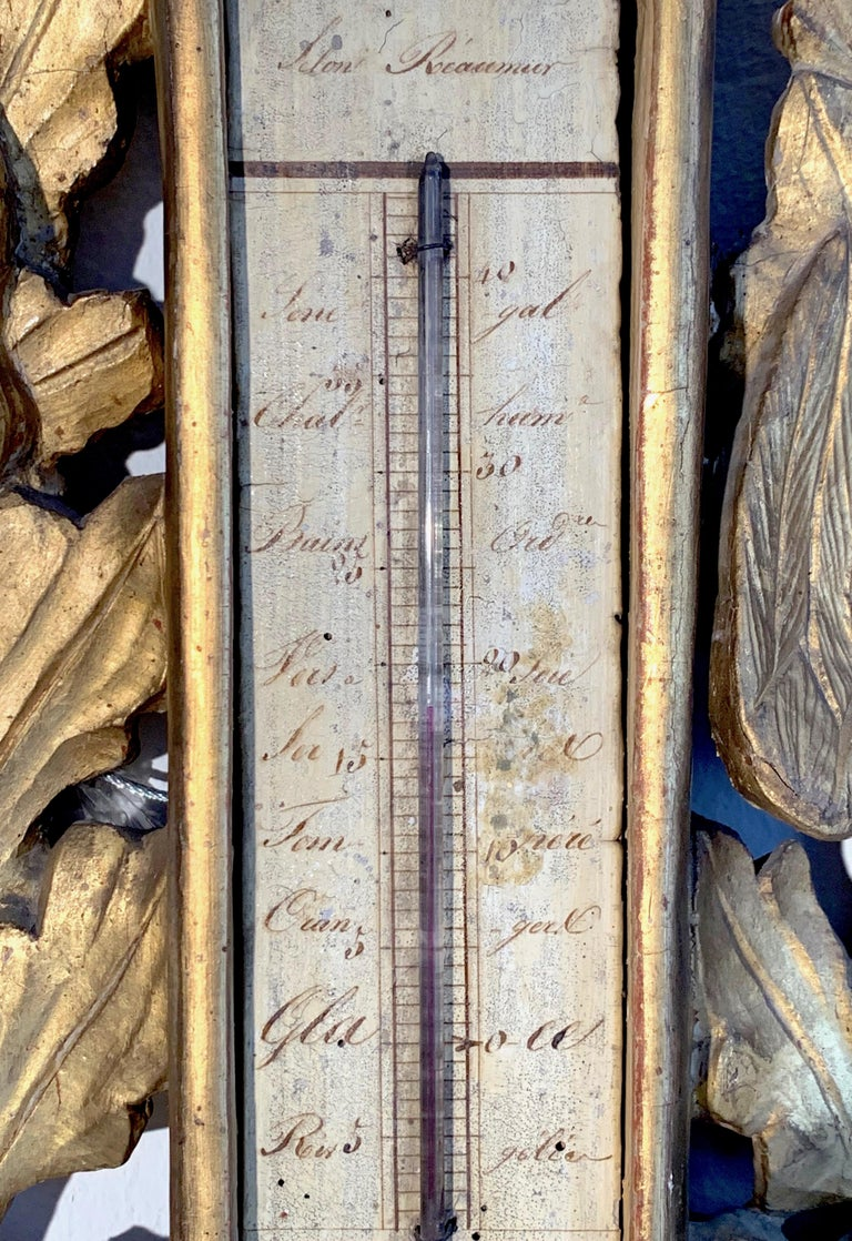 Antique Louis XVI 1775 Paris Beech Wood Barometer and Thermometer for a Hunter In Good Condition For Sale In Munich, DE