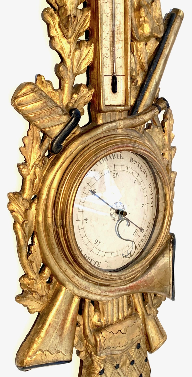 Antique Louis XVI 1775 Paris Beech Wood Barometer and Thermometer for a Hunter For Sale 2