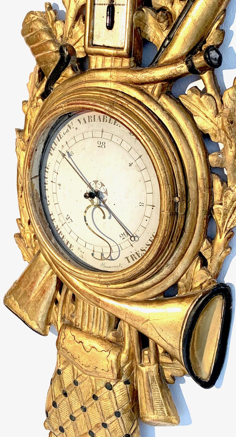 Antique Louis XVI 1775 Paris Beech Wood Barometer and Thermometer for a Hunter For Sale 3