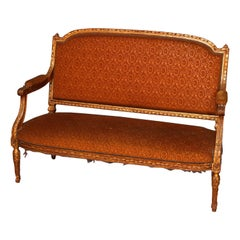Antique Louis XVI Acanthus Carved Giltwood and Upholstered Settee, circa 1880