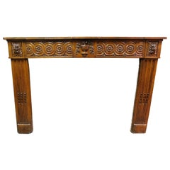 Antique Louis XVI Carved Walnut Fireplace Mantel, 18th Century, Italy