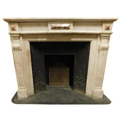 Antique Louis XVI Fireplace in White Marble with Pink Inlays, Early 1800 France