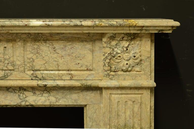 Louis XIV Antique Louis XVI Fireplace Mantel in Beautiful Escalette Marble For Sale