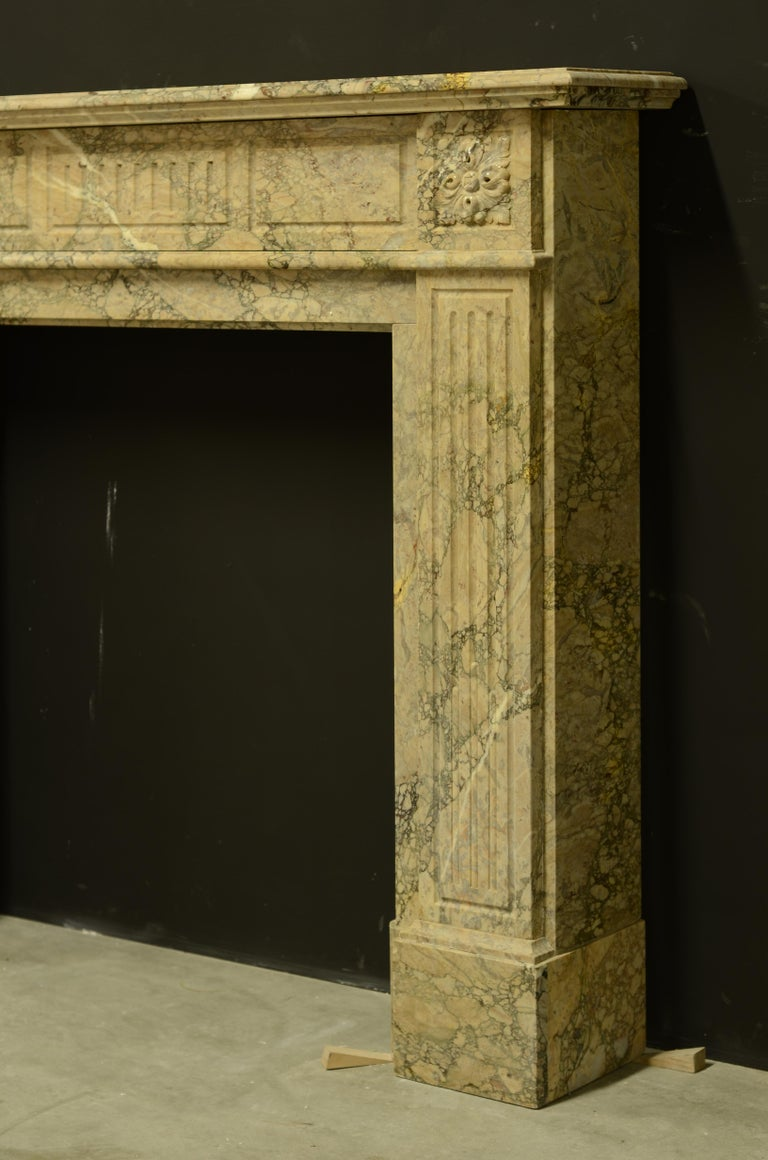 19th Century Antique Louis XVI Fireplace Mantel in Beautiful Escalette Marble For Sale