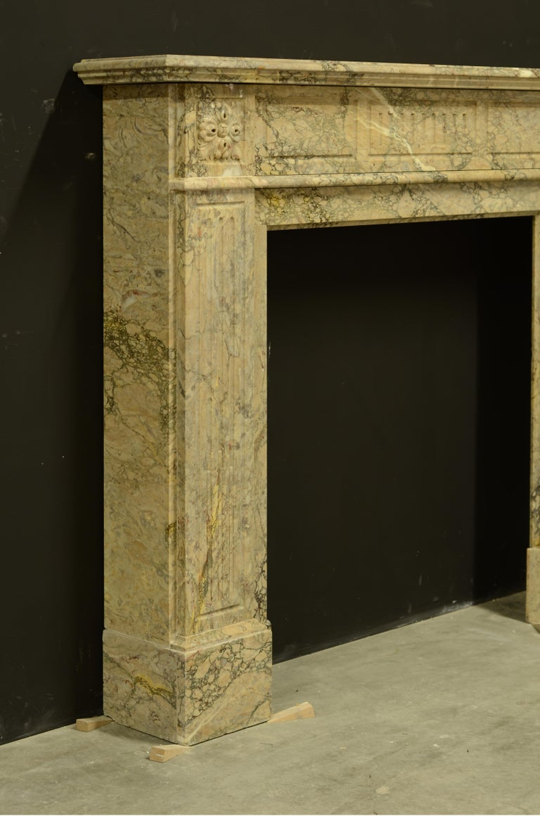 Antique Louis XVI Fireplace Mantel in Beautiful Escalette Marble For Sale 1