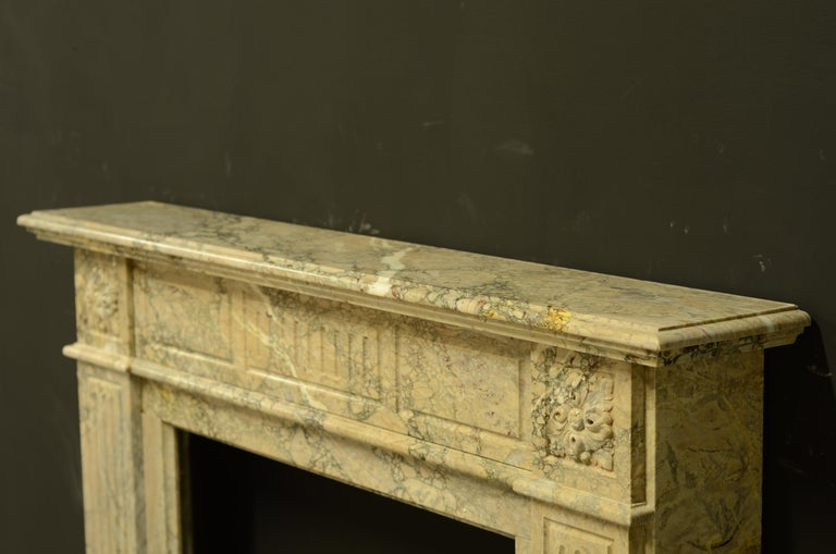 Antique Louis XVI Fireplace Mantel in Beautiful Escalette Marble For Sale 2