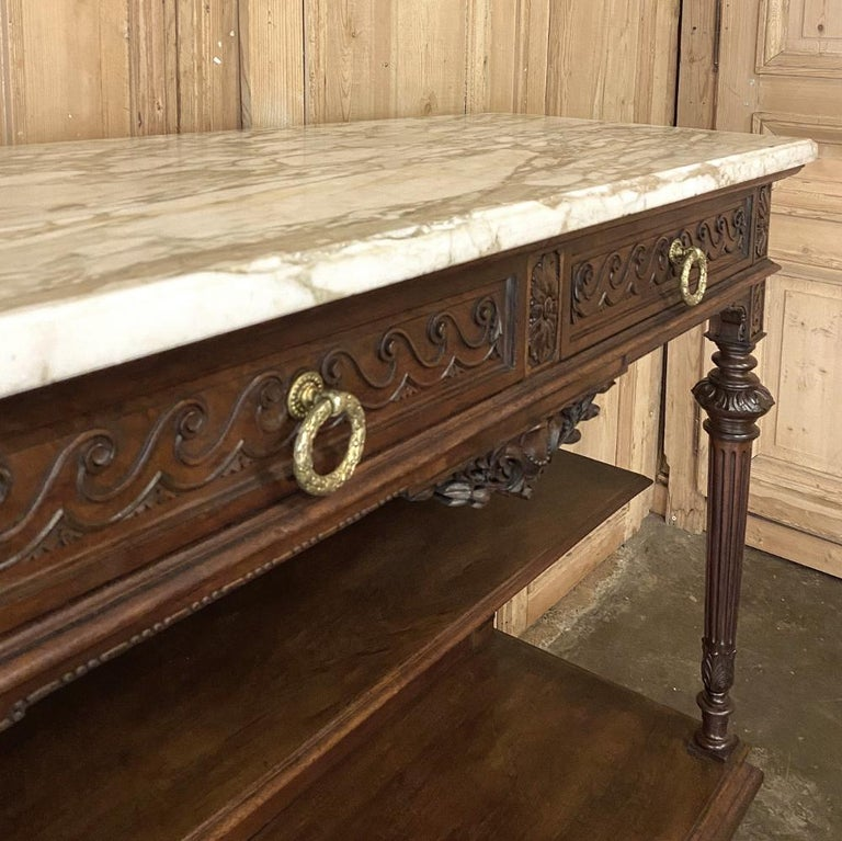 Antique Louis XVI French Walnut Buffet with Carrara Marble Top For Sale 4