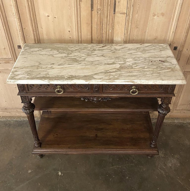 Antique Louis XVI French Walnut Buffet with Carrara Marble Top For Sale 5