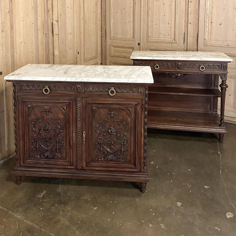 Antique Louis XVI French Walnut Buffet with Carrara Marble Top In Good Condition For Sale In Dallas, TX
