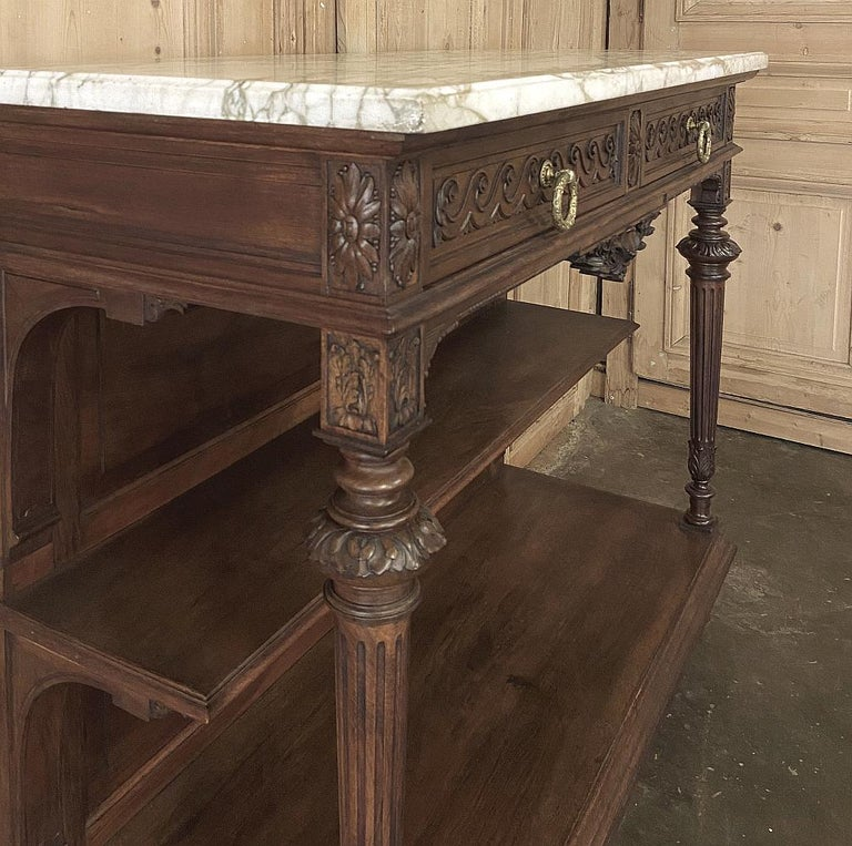 Bronze Antique Louis XVI French Walnut Buffet with Carrara Marble Top For Sale