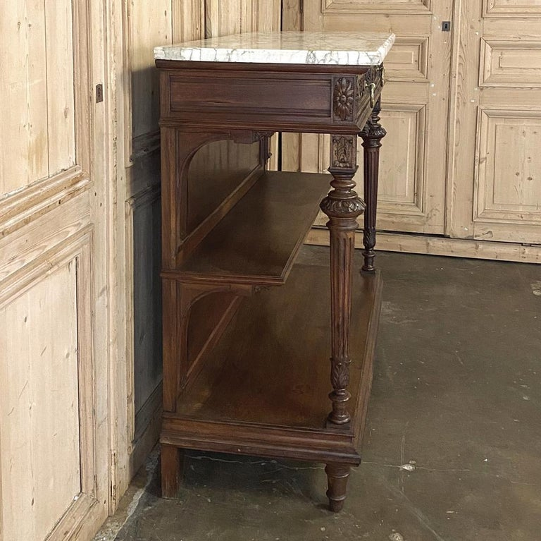 Antique Louis XVI French Walnut Buffet with Carrara Marble Top For Sale 3
