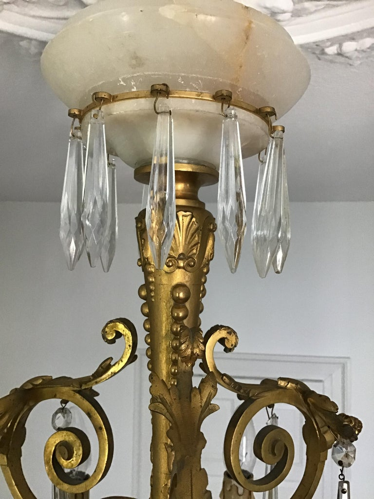 Antique Louis XVI Gilt Bronze and Marble Chandelier, France, 19th Century For Sale 6