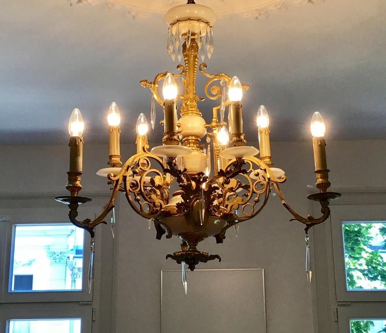 Antique Louis XVI Gilt Bronze and Marble Chandelier, France, 19th Century For Sale 8