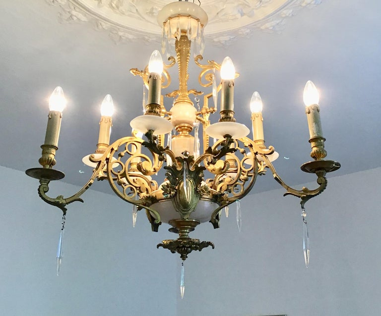 Antique Louis XVI Gilt Bronze and Marble Chandelier, France, 19th Century For Sale 9