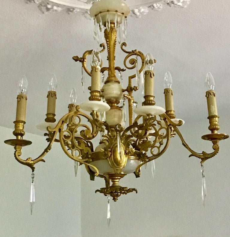French Antique Louis XVI Gilt Bronze and Marble Chandelier, France, 19th Century For Sale