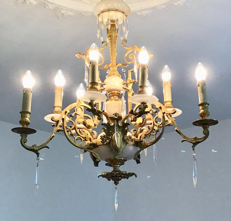 Antique Louis XVI Gilt Bronze and Marble Chandelier, France, 19th Century In Good Condition For Sale In Wiesbaden, Hessen