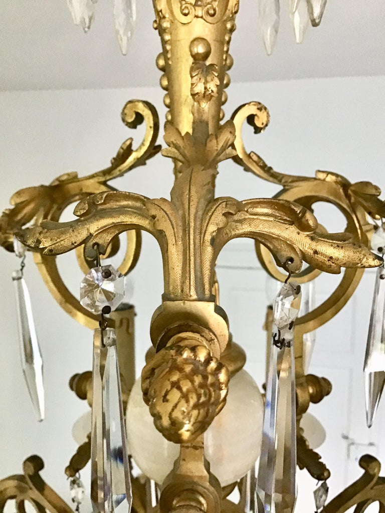 Antique Louis XVI Gilt Bronze and Marble Chandelier, France, 19th Century For Sale 5