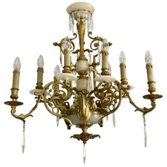 Antique Louis XVI Gilt Bronze and Marble Chandelier, France, 19th Century