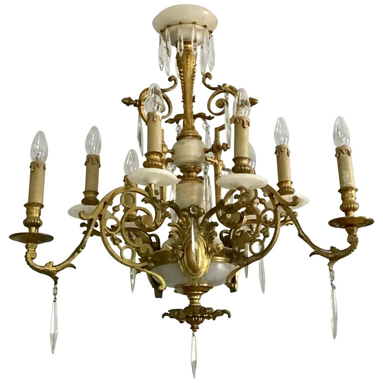 Antique Louis XVI Gilt Bronze and Marble Chandelier, France, 19th Century For Sale