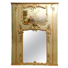 Antique Louis XVI Mirror, green and gold with painting, 18th century France