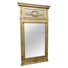 Antique Louis XVI Mirror, Light Blue and Green Wood Lacquered, 1700, Italy