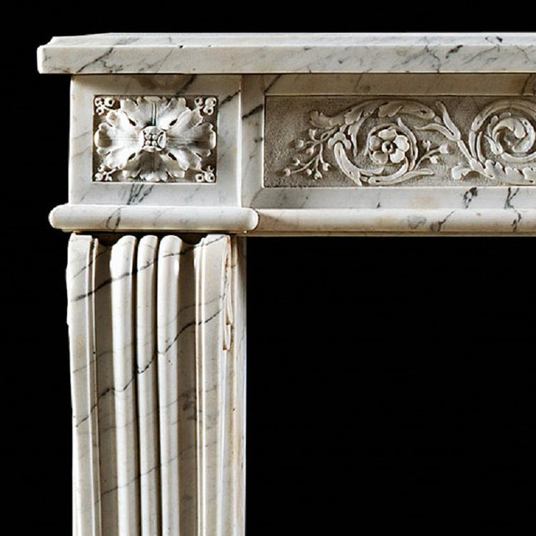 French Antique Louis XVI Neoclassical Fireplace Mantel in Statuary Marble For Sale