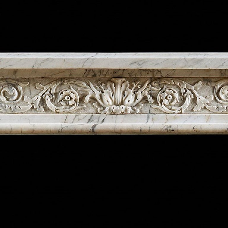 Carved Antique Louis XVI Neoclassical Fireplace Mantel in Statuary Marble For Sale