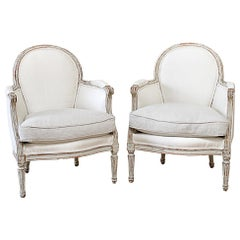 Antique Louis XVI Style Bergère Chairs in Silk and Linen Upholstery