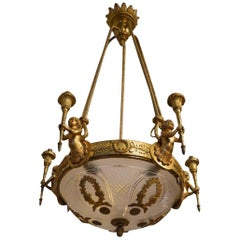 Antique Louis XVI Style Chandelier with Cherubs in Bronze with Golden Patina