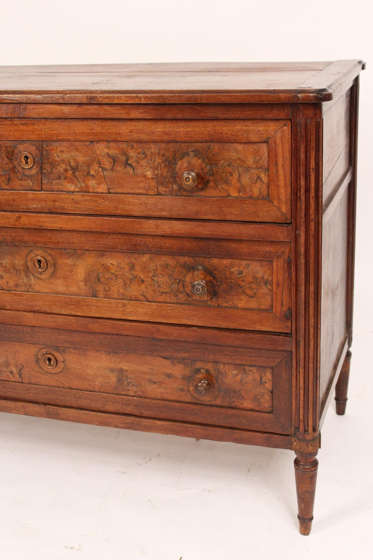Walnut Antique Louis XVI Style Chest of Drawers For Sale