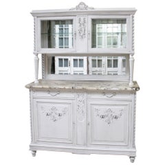 Antique Louis XVI Style China Cabinet with Marble Top
