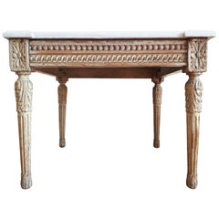 Antique Louis XVI Style Coffee Table Marble Top