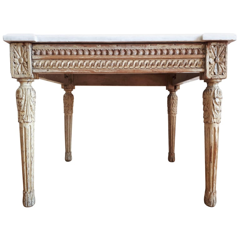 Old Marble Top Coffee Table: Antique Louis XVI Style Coffee Table Marble Top For Sale