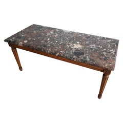 Antique Louis XVI Style Coffee Table Marble-Top