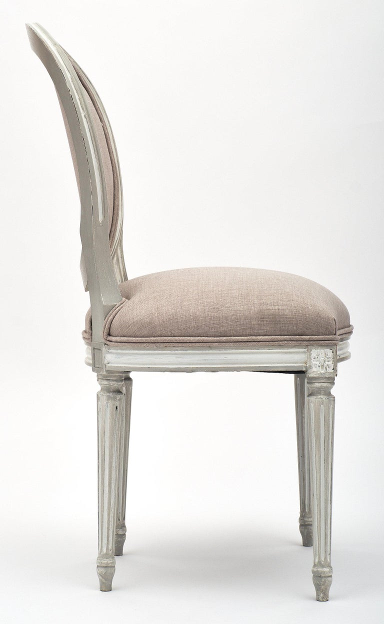 Linen Antique Louis XVI Style Dining Chairs For Sale