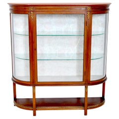 Antique Louis XVI Style English Mahogany Curved China Display Cabinet circa 1890