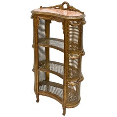 Antique Louis XVI Style French Étagère/ Whatnot w/ Shelves, Caning & Gold Paint