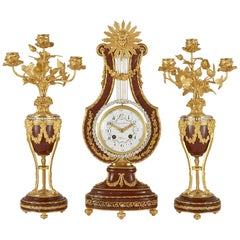 Antique Louis XVI Style Gilt Bronze, Rouge Marble and Jewelled Clock Set