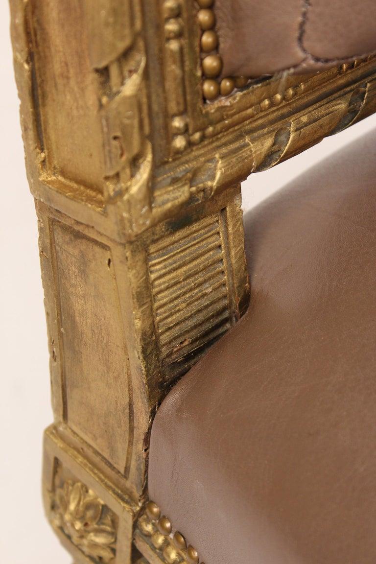 Antique Louis XVI Style Giltwood Armchair For Sale 8