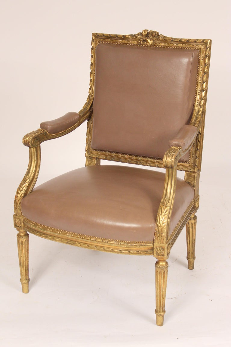 French Antique Louis XVI Style Giltwood Armchair For Sale