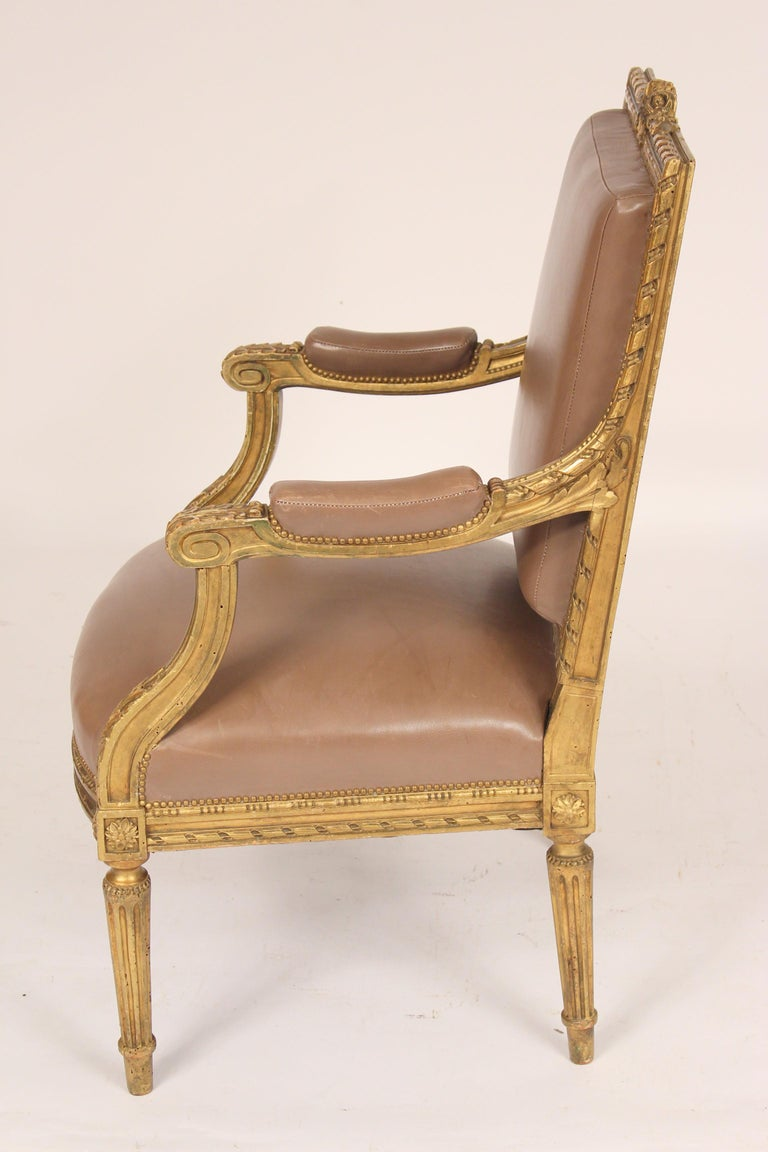 Antique Louis XVI Style Giltwood Armchair In Good Condition For Sale In Laguna Beach, CA