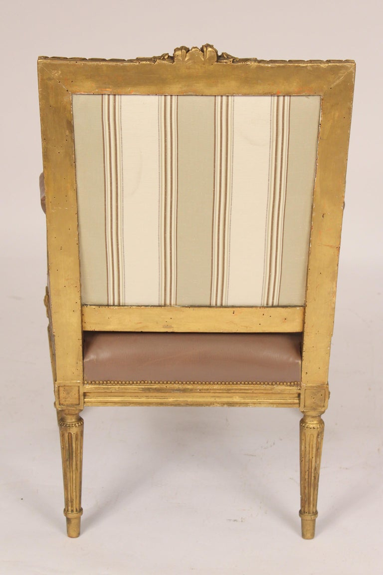 19th Century Antique Louis XVI Style Giltwood Armchair For Sale