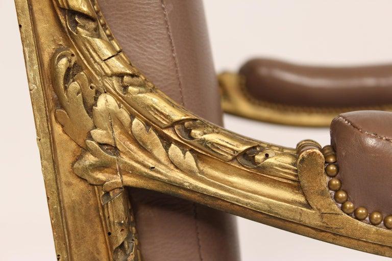 Antique Louis XVI Style Giltwood Armchair For Sale 1