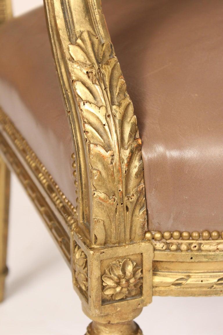 Antique Louis XVI Style Giltwood Armchair For Sale 2