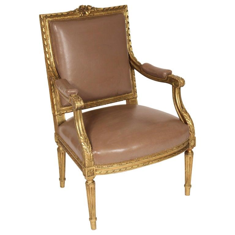 Antique Louis XVI Style Giltwood Armchair For Sale