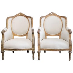 Antique Louis XVI Style Giltwood Upholstered Carved Bergere Chairs
